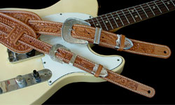 Hand-Tooled Leather Guitar Straps