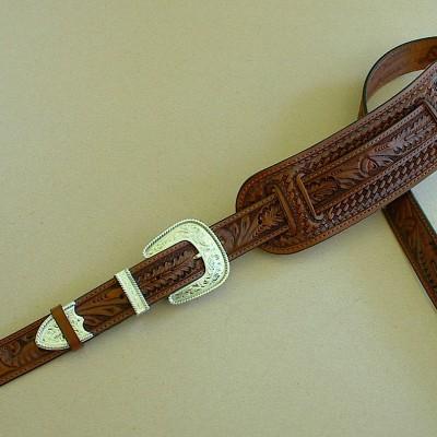 """""""Original Model"""" hand-tooled leather guitar strap, brown, acorn & oakleaf tooling"""