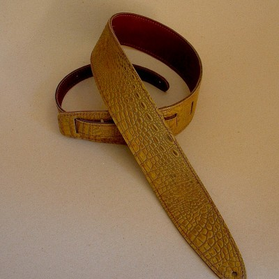 "Durango model leather guitar strap, Florida-brown ""gator"" leather"