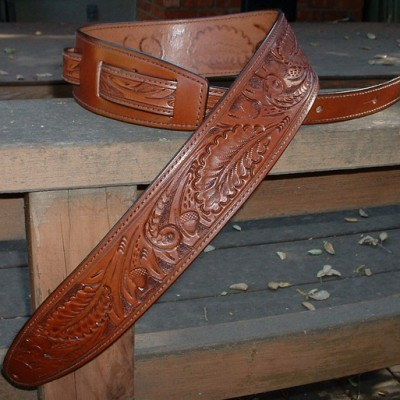 Durango model hand-tooled leather guitar strap, brown, wild rose tooling