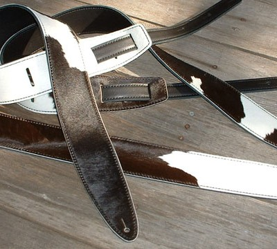 """Durango"" model leather guitar straps, black & white hair-on cowhide"