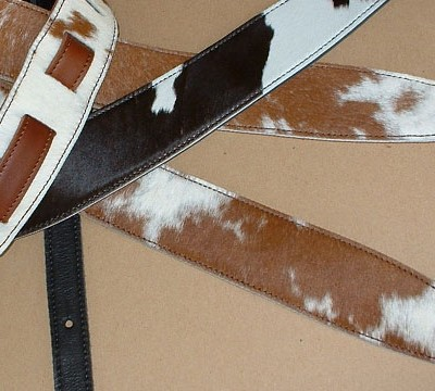 """Durango"" model leather guitar straps, black & white and brown & whitehair-on cowhide"