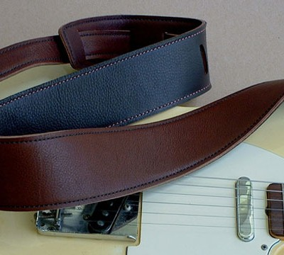Durango-Suave model leather guitar strap, Cognac/Chocolate