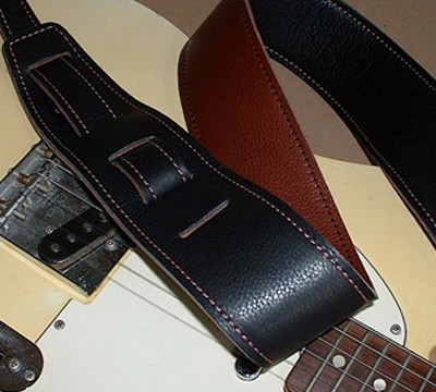 Durango-Suave model leather guitar strap, Black/Cognac