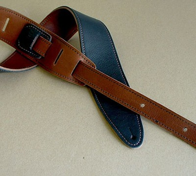 Durango-Suave leather guitar strap, Black/Cognac