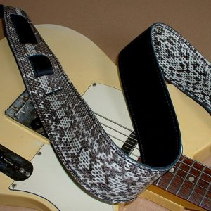 Durango model leather guitar strap, genuine snakeskin