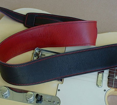 Durango-Suave model leather guitar strap, Black/Red
