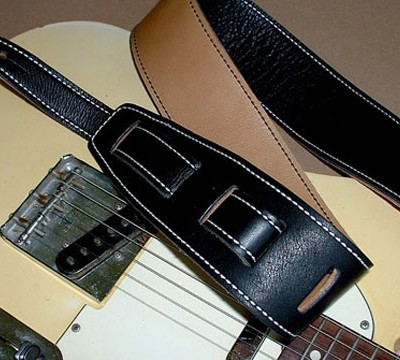 Durango-Suave model leather guitar strap, Black/Tan