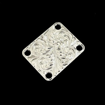Hand-engraved metal Telecaster & Stratocaster replacement 4-bolt neckplate