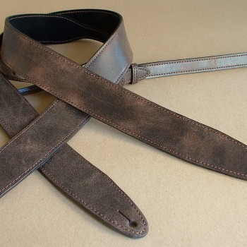 """Relic"" model leather guitar strap, pre-aged distressed leather"