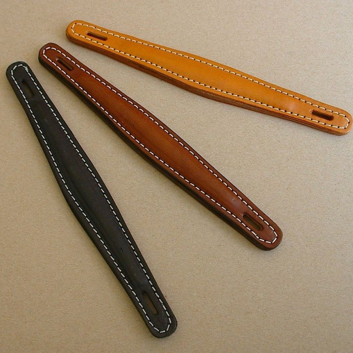 Vintage style replacement leather amp handles in tan, brown, black