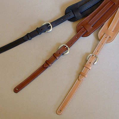Vintage Plain model leather guitar straps in tan, brown, and black