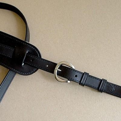 Vintage Plain model leather guitar strap, black
