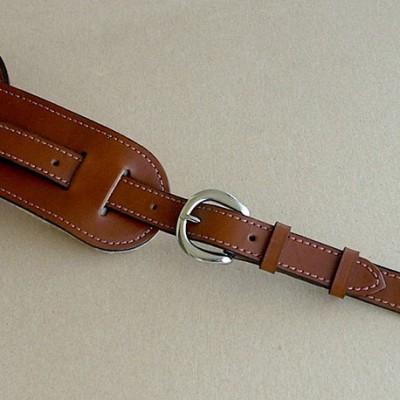 Vintage Plain model leather guitar strap, brown