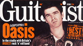 Noel Gallagher of Oasis with El Dorado Leather Guitar Strap featured in Guitarist Magazine UK
