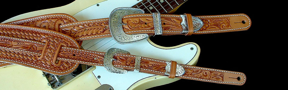 Hand-tooled leather guitar straps, Original Model & Vintage Model
